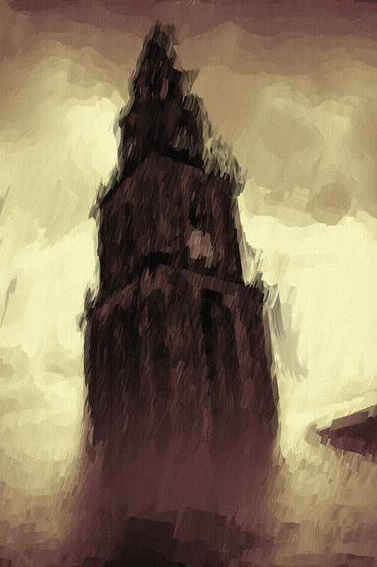 Tower Art Print featuring the painting Wicked Tower by Ayse and Deniz