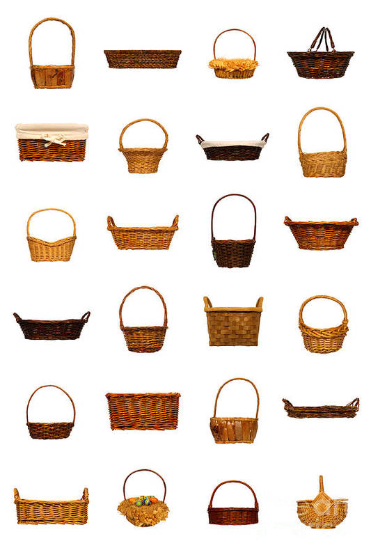 Basket Art Print featuring the photograph Wicker Basket Collection by Olivier Le Queinec
