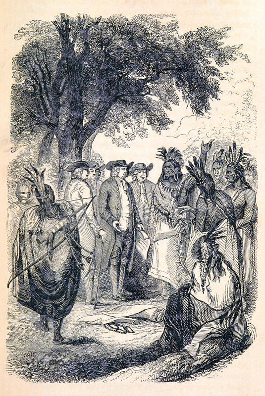 History Art Print featuring the photograph William Penns Treaty With The Indians by British Library