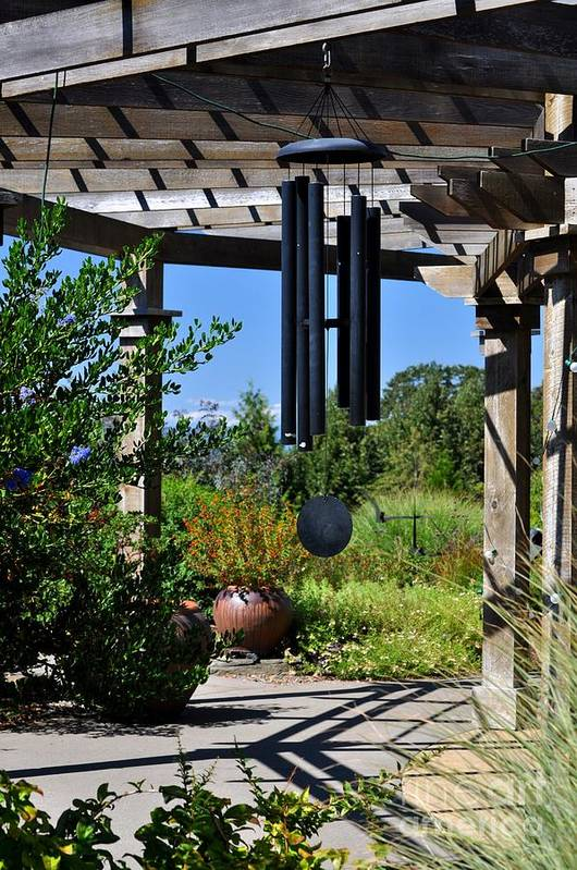 Flower Art Print featuring the photograph Wind Chime In A Garden by Mandy Judson
