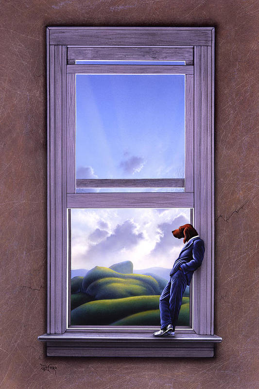 Surreal Art Print featuring the painting Window Of Dreams by Jerry LoFaro