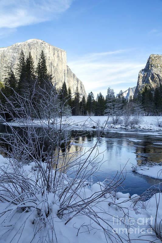 Nature Art Print featuring the photograph Winter Landscape In Yosemite California by Julia Hiebaum