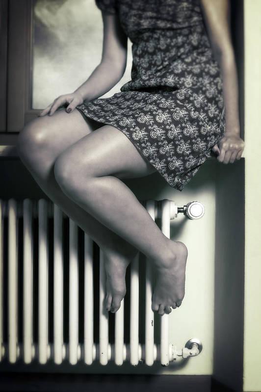Girl Art Print featuring the photograph Woman On Window Sill by Joana Kruse