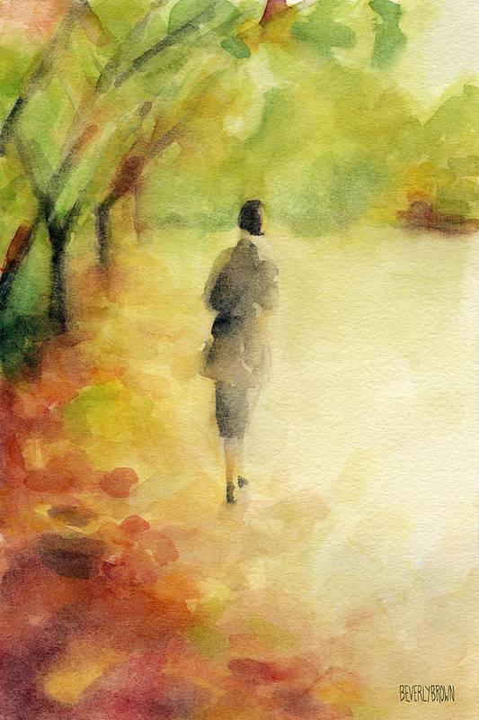 Earth Tone Art Print featuring the painting Woman Walking Autumn Landscape Watercolor Painting by Beverly Brown Prints