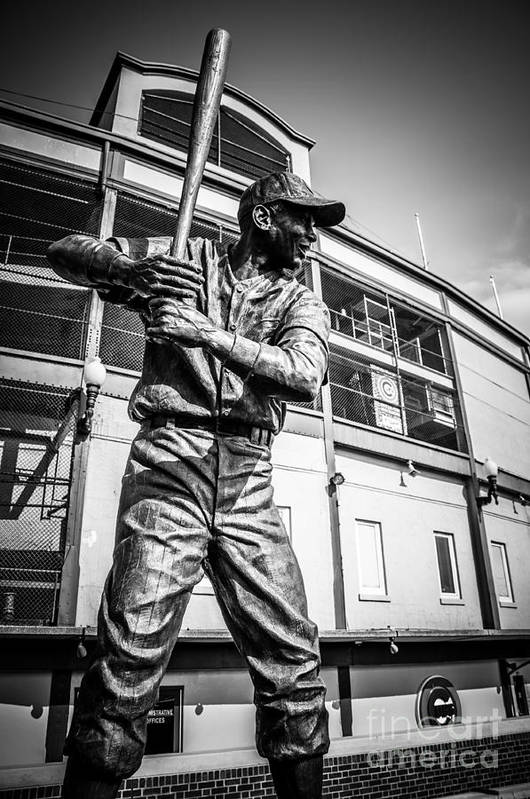 America Art Print featuring the photograph Wrigley Field Ernie Banks Statue In Black And White by Paul Velgos