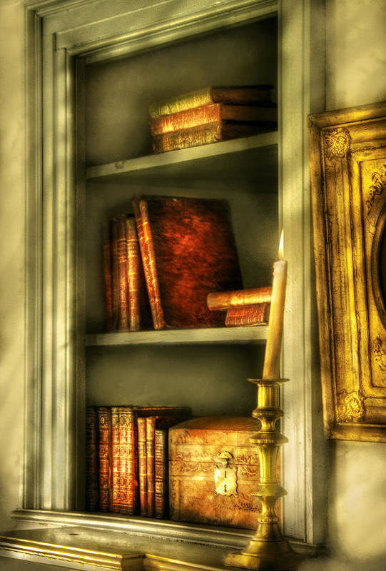 Savad Art Print featuring the photograph Writer - In The Library by Mike Savad