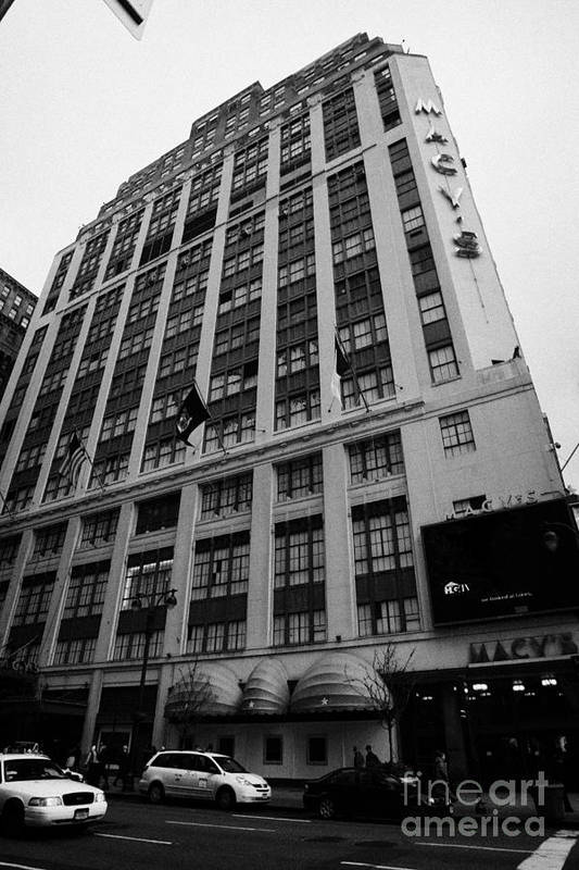 Usa Art Print featuring the photograph Yellow Cabs Outside Macys Department Store 7th Avenue And 34th Street Entrance New York by Joe Fox
