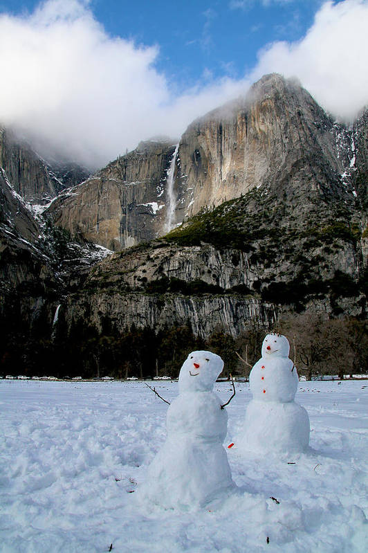 Yosemite Art Print featuring the photograph Yosemite Falls Snowmen by Her Arts Desire