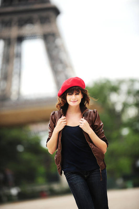 63af3adf2a42a People Art Print featuring the photograph Young French Woman Wearing Beret  At Eiffel Tower Paris France