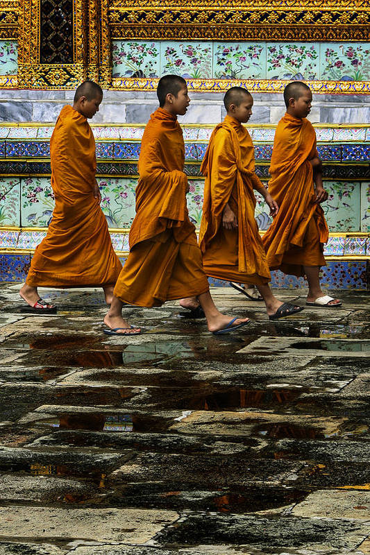 Buddhist Print featuring the photograph Young Monks by Rob Tullis
