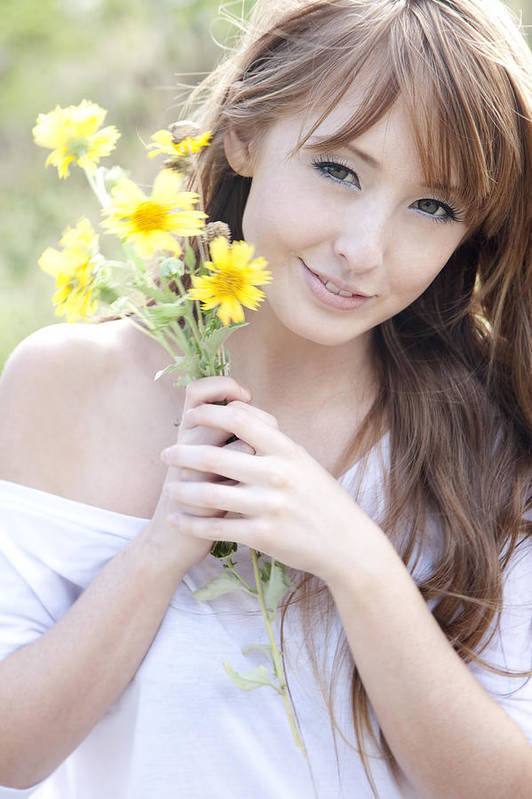 Beautiful Art Print featuring the photograph Young Woman With Flowers by Brandon Tabiolo