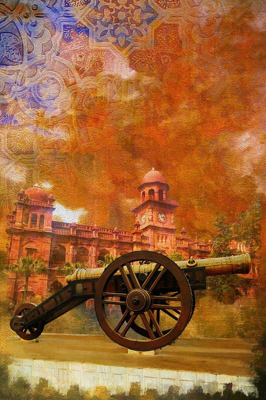 Pakistan Art Print featuring the painting Zamzama Tope Or Kim's Gun by Catf