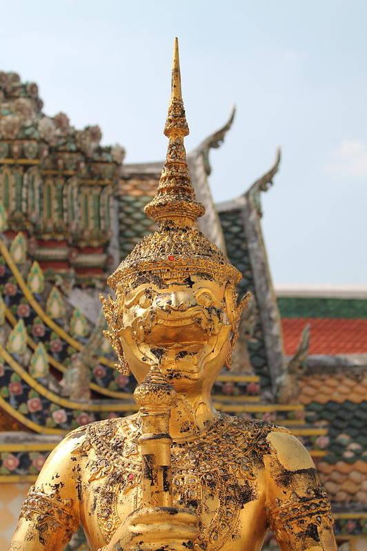 Abstract Art Print featuring the sculpture Demon Guardian Statues At Wat Phra Kaew by Panyanon Hankhampa
