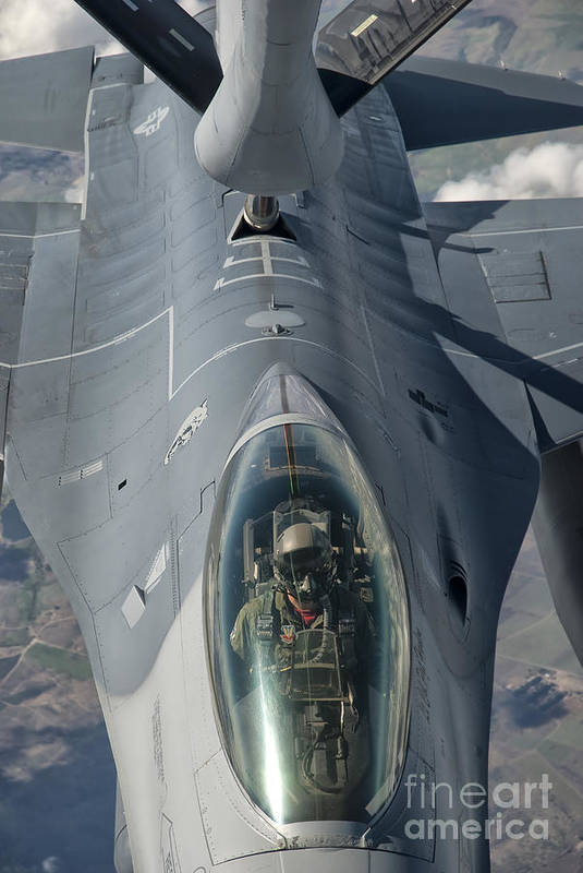 Transportation Art Print featuring the photograph A U.s. Air Force F-16c Fighting Falcon by Giovanni Colla