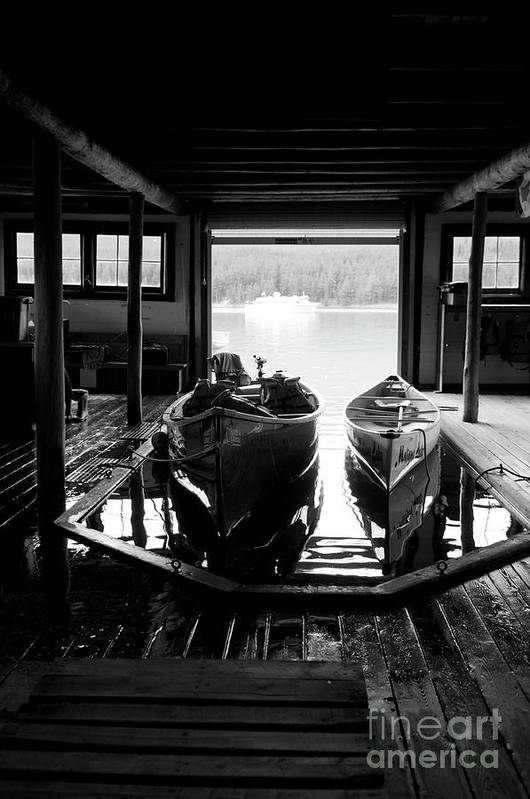 Art Print featuring the photograph Boathouse At Maligne Lake by Ginevre Smith