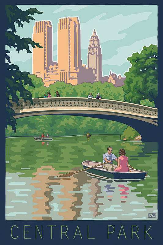 Bow Bridge Art Print featuring the digital art Bow Bridge In Central Park by Mitch Frey