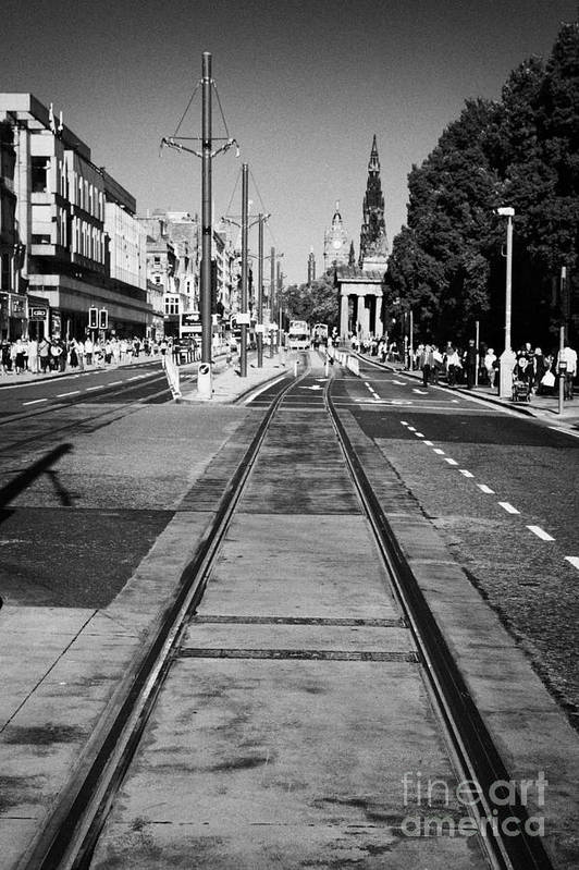Princes Art Print featuring the photograph Completed Tram Rails On Princes Street Edinburgh Scotland Uk United Kingdom by Joe Fox
