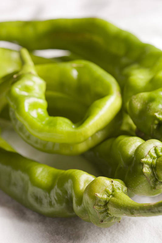 Vertical Art Print featuring the photograph Fresh Long Green Hot Peppers by Brian Yarvin