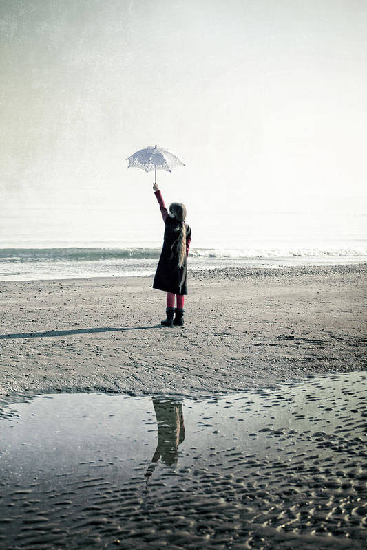 Girls Art Print featuring the photograph Girl On The Beach With Parasol by Joana Kruse