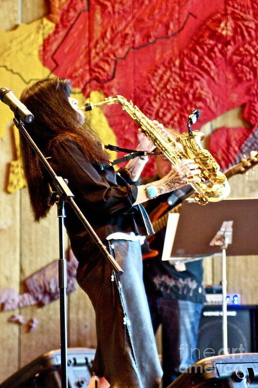 Anchorage Art Print featuring the photograph Harjo On Sax by James Knights