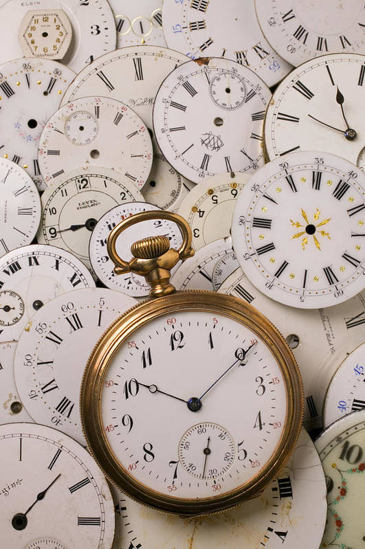Time Print featuring the photograph Old Pocket Watch On Dail Faces by Garry Gay