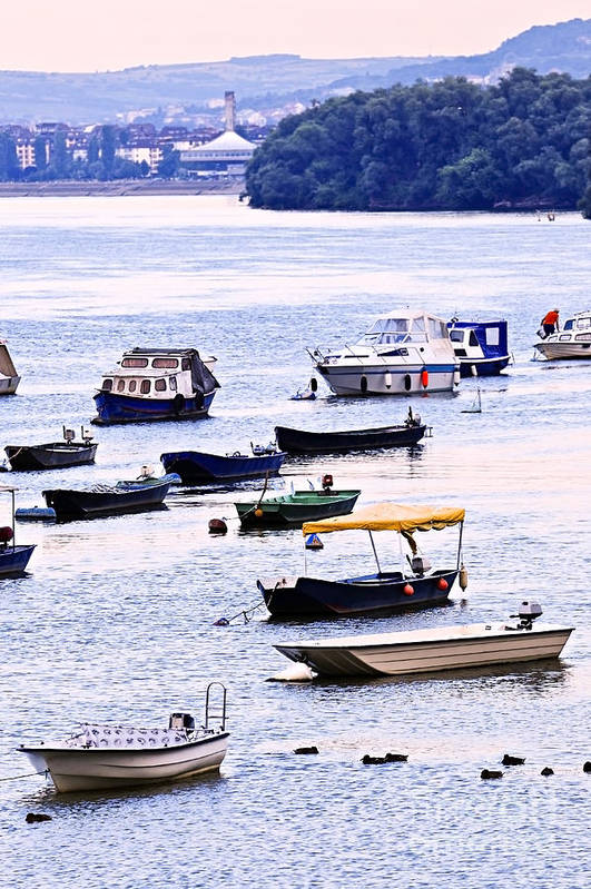 Boats Print featuring the photograph River Boats On Danube by Elena Elisseeva