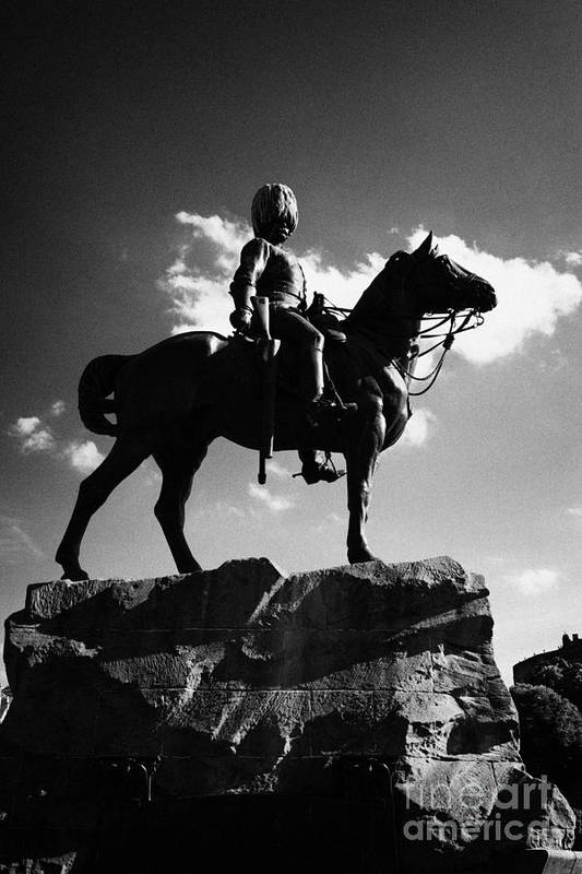 Princes Art Print featuring the photograph Royal Scots Greys Boer War Monument In Princes Street Gardens Edinburgh Scotland Uk United Kingdom by Joe Fox