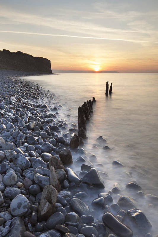 Vertical Art Print featuring the photograph Sunset At The Remains Of Lilstock Pier by Nick Cable