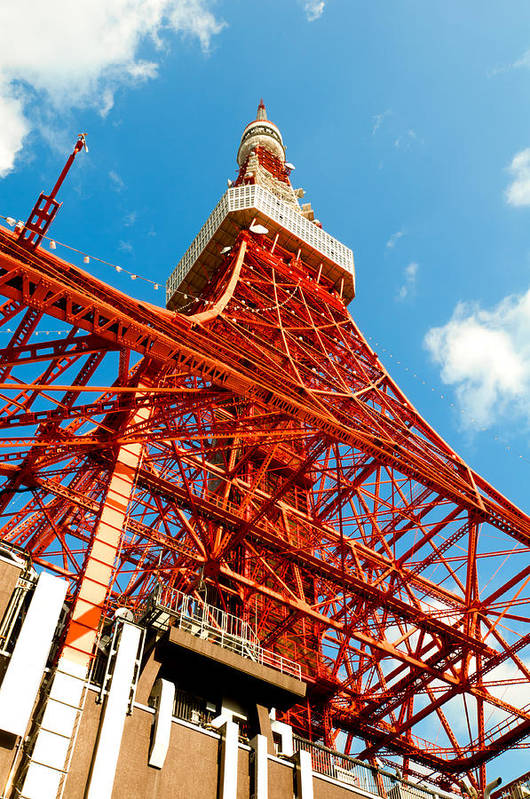 Architecture Art Print featuring the photograph Tokyo Tower Face Cloudy Sky by Ulrich Schade