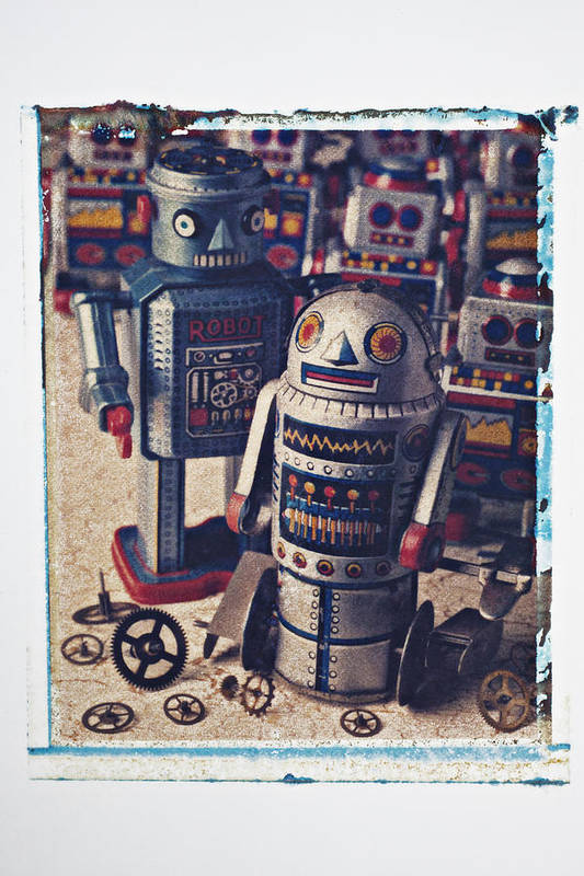 Toy Art Print featuring the photograph Toy Robots by Garry Gay