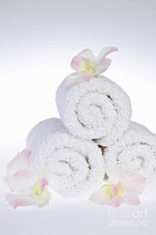 Towels Art Print featuring the photograph White Spa by Elena Elisseeva