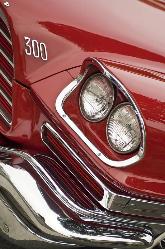 1959 Chrysler 300 Art Print featuring the photograph 1959 Chrysler 300 Headlight by Jill Reger