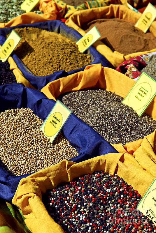 Spices Art Print featuring the photograph Spices On The Market by Elena Elisseeva