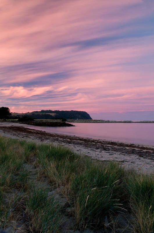 Red Art Print featuring the photograph Twilight After A Sunset At A Beach by U Schade