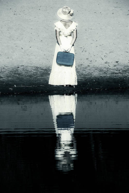 Woman Art Print featuring the photograph Woman With Suitcase by Joana Kruse