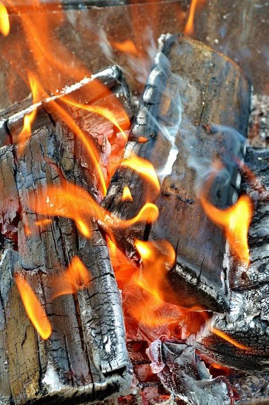 Hot; Wood; Fire; Summer; Barbecue; Red; Orange; Steak; Hamburger; Garden; Food; Family; Friends; Warm; Winter; Cosy; Decorative; Background; Braai; Art Print featuring the photograph Wood Fire by Werner Lehmann
