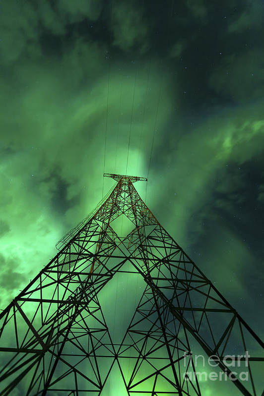 Green Art Print featuring the photograph Powerlines And Aurora Borealis by Arild Heitmann