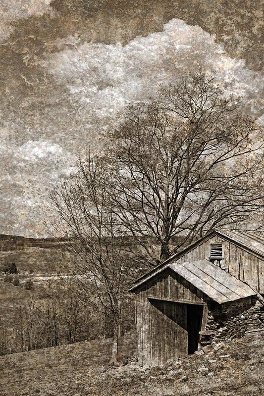 Tin Art Print featuring the photograph Rustic Hillside Barn by John Stephens