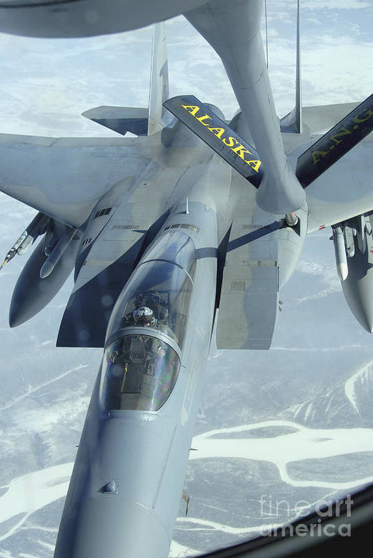 Adults Only Art Print featuring the photograph A F-15 Eagle Receives Fuel by Stocktrek Images