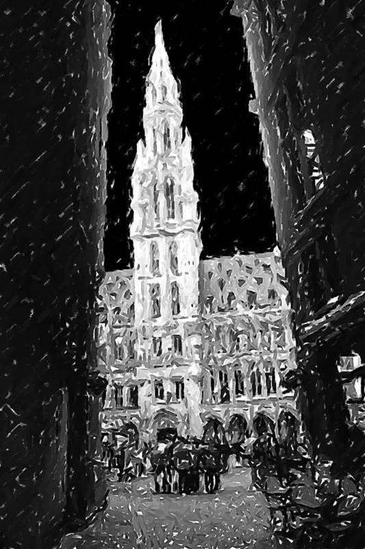 Belgium Art Print featuring the photograph A Night On The Grand Place by Fernando Margolles