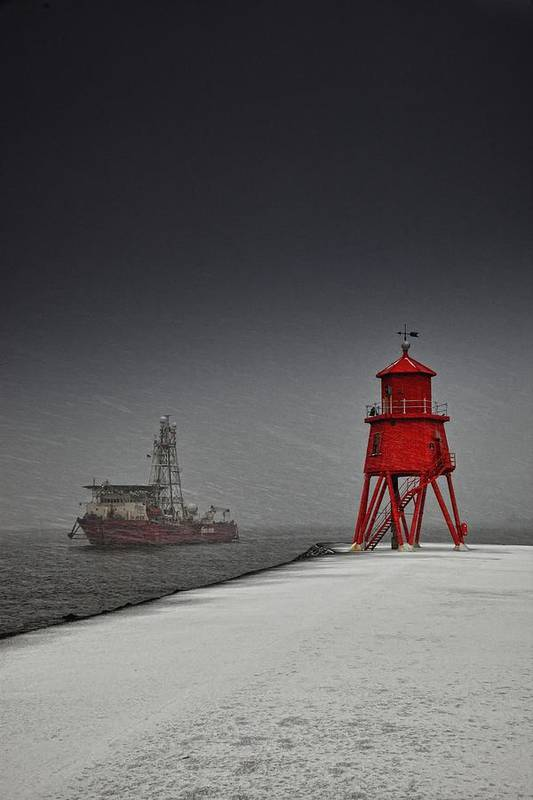 Clouds Art Print featuring the photograph A Red Lighthouse Along The Coast In by John Short