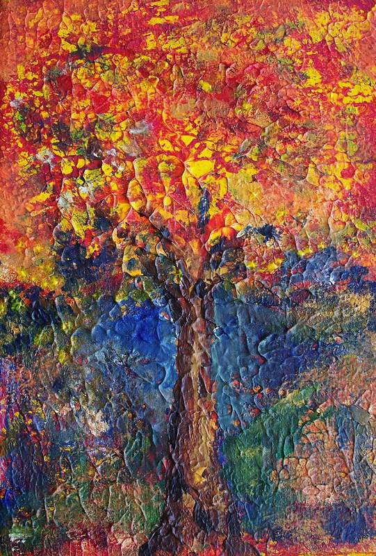 Acrylic On 5 X 7 Inch Stretched Canvas Art Print featuring the painting A Tree Grows Here by Robin Monroe