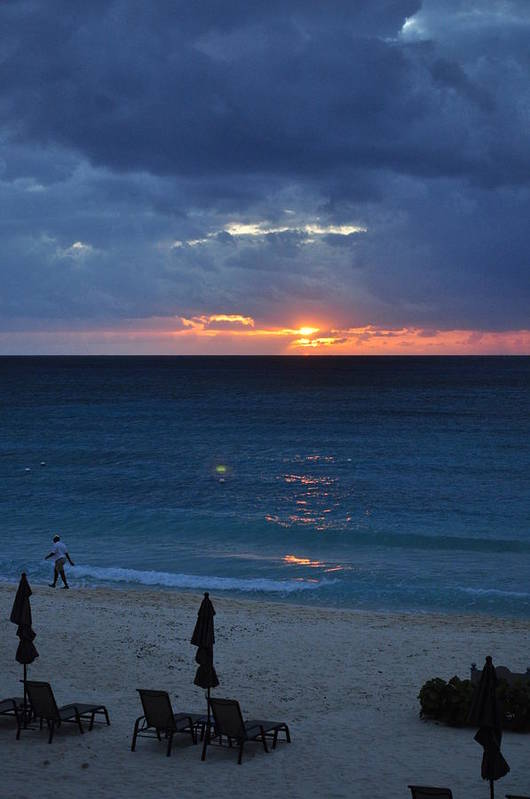 Carribbean Art Print featuring the photograph A Walk At Sunset by Caroline Stella
