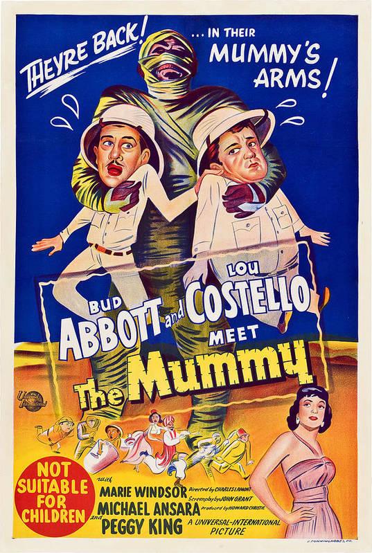 1950s Poster Art Art Print featuring the photograph Abbott And Costello Meet The Mummy by Everett