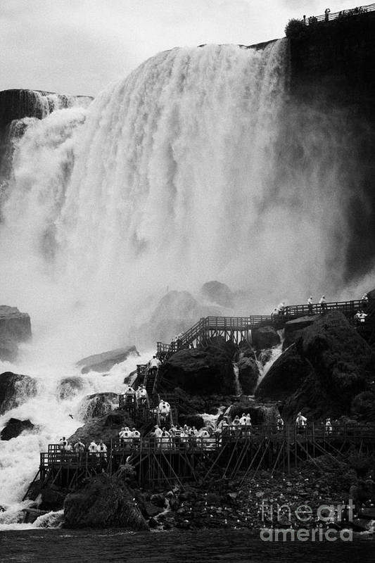 Niagara Falls Art Print featuring the photograph American Falls With Cave Of The Winds Walkway Niagara Falls New York State Usa by Joe Fox