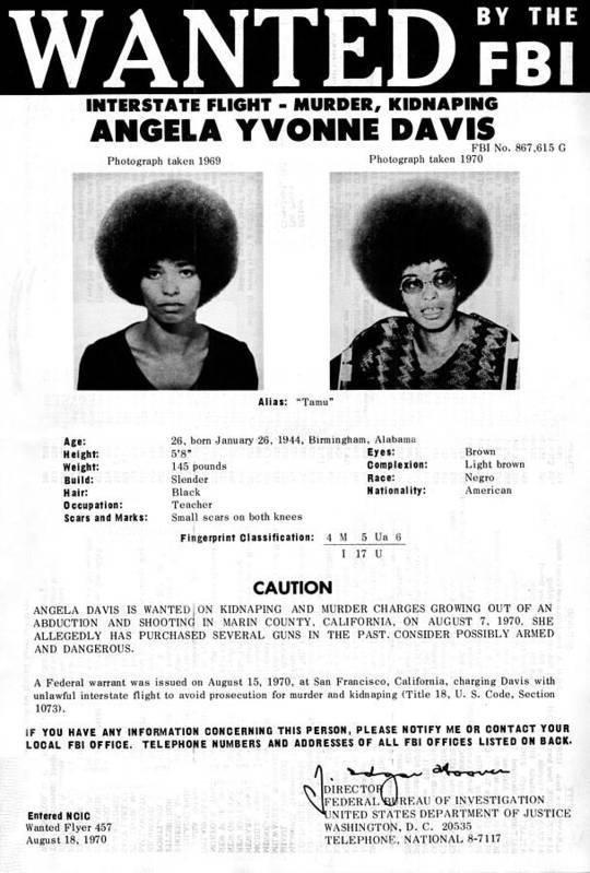 Activist Art Print featuring the photograph Angela Davis Fbi Wanted Ad, August 8th by Everett