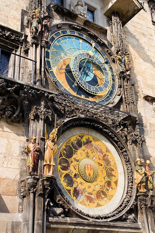 Architecture Art Print featuring the photograph Astronomical Clock In Prague by Artur Bogacki
