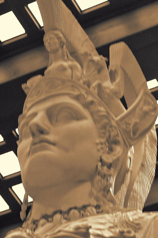 Ancient Art Print featuring the photograph Athena Sculpture Sepia by Linda Phelps