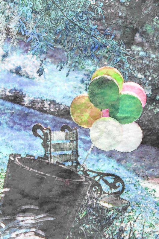 Balloons Art Print featuring the photograph Balloons In The Park by Donna Bentley
