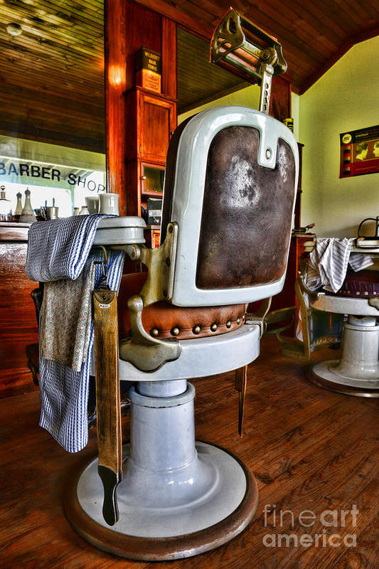 Barber - The Barber's Chair Art Print featuring the photograph Barber - Barber Chair by Paul Ward